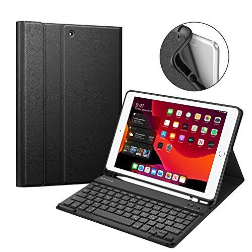 Fintie Tastatur Hülle für iPad 10.2 Zoll 7. Generation 2019, Soft TPU Rückseite Gehäuse Schutzhülle mit Pencil Halter, magnetisch Abnehmbarer Bluetooth Tastatur mit QWERTZ Layout, Schwarz