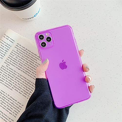 IPhone case FQSCX Fluorescent Candy Color Phone Case For iPhone 11 Pro Max 12 Pro Max 7 8 Plus XR X XS Max Shockproof Plain Clear Soft Cover ForiPhoneSE2020 2