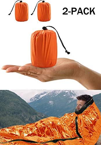 Ear-PADZ Überlebens-Schlafsack, Notfall-Bivvy-Tasche, Notfall-Rettungsdecke, wiederverwendbare PE-Aluminiumfolie für Outdoor-Camping, Wandern