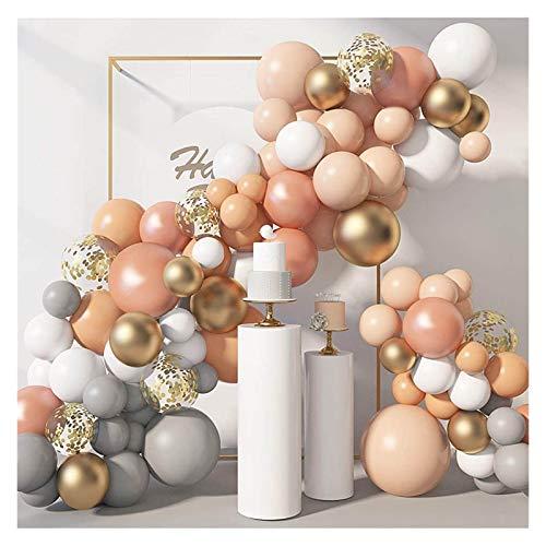 JUNMAIDZ Globos 129pcs / Lot Globos Naranja Guirnalda Gris Naranja Oro Confeti Cadena de Globo Ballon Arco para la decoración de la Fiesta de Bodas (Color : No1 129pcs Set)