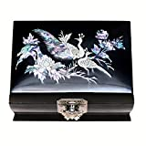 MADDesign Mother of Pearl Music Box Jewelry Ring Organizer Peacock Black