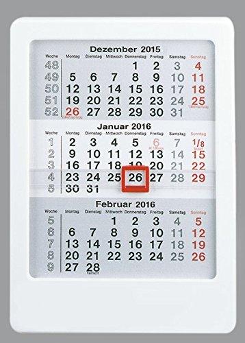 3-Monatskalender 2016 zum Aufstellen - Tischkalender / Aufstellkalender (12 x 16) - mit Datumsschieber