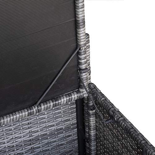 Outsunny 8-TLG. Polyrattan Gartengarnitur Gartenmöbel Garten-Set Sitzgruppe Loungeset Loungemöbel Beistelltisch als Aufbewahrungskorb Grau Stahl + Polyester 58 x 58 x 37 cm - 8