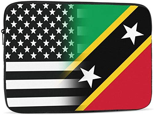 Black and White USA Panama Flag Laptop Sleeve Bag Compatible with 10-17 Inch Funny Computer Bag Laptop Case-Black And White USA Saint Kitts And Nevis Flag,17inch