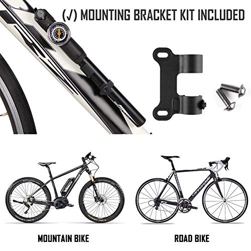 GIYO Mini Fahrradpumpe mit Manometer für Presta Schrader Ventil tragbare Luftpumpe für Rennrad Mountainbi - 3