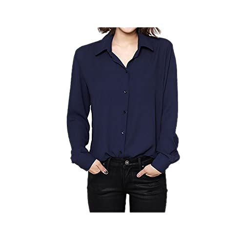 f11c5d20d0cf27 ARJOSA Women's Chiffon Long Sleeve Button Down Casual Shirt Blouse Top