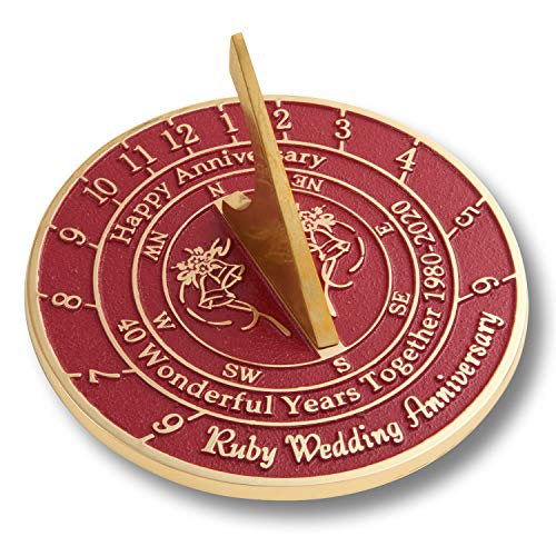 The Metal Foundry 40th Ruby 2020 Wedding Anniversary Sundial Gift. Solid Recycled Brass Gift Idea is A Great Present for Him, Her, Parents, Grandparents Or Couple On 40 Years of Marriage