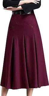 Womens Winter High Waist A-Line Pleated Wool Long Skirt with Belt Loops