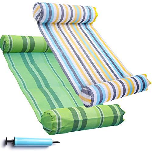 FindUWill 2-Pack Premium Swimming Pool Float Hammock, Multi-Purpose Inflatable Hammock (Saddle, Lounge Chair, Hammock, Drifter), Water Hammock Lounge(Colorful and Green)
