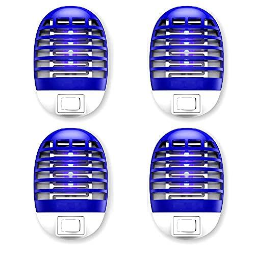 Zapper eléctrico - 4 paquetes de 4 paquetes electrónico--Fruit Fly Month Zapper - Asesino electrónico de insectos moscas, trampa de plagas interior, asesino de mosquitos con luz azul