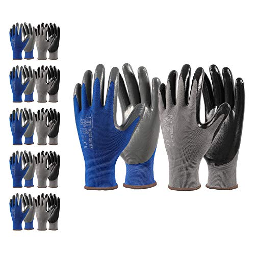 COOLJOB Nitrile Work Gloves, 10 Pairs Durable Working Gloves with Power Grip, Bulk Pack, Black & Blue& Grey, X-Large Size (10 Pairs, XL)