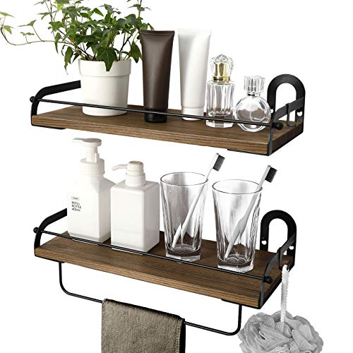 Ophanie Floating Shelves Wall Mounted Set of 2, Rustic Wood Wall Storage Shelves Organizer for Home Decor Kitchen, Bathroom, 2 S-Shape Hooks Included