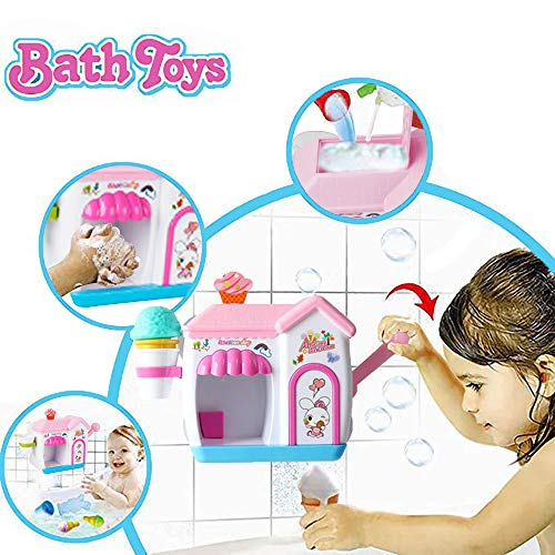 Happytime Ice Creams Bubble Bathtub Toy Pink Bathroom Foam Cone Factory Making Ice Creams Bubble Machine Bathtub Water Toys for Baby (No Batteries Required)…