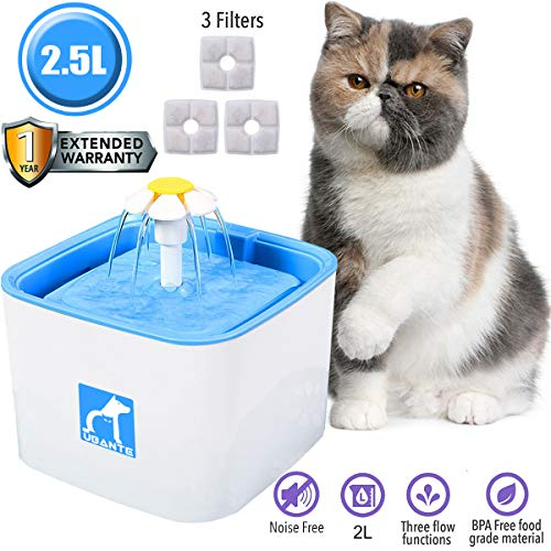 UBANTE Pet Fountain Cat Water Dispenser, Healthy & Hygienic Drinking Fountain 2.5L Large Super Quiet Flower Automatic Electric Water Bowl with 3 Filters for Dogs, Cats, Birds & Small Animals
