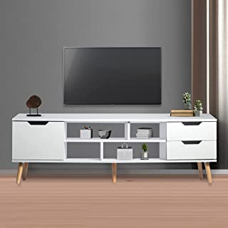 Levede TV Cabinet Entertainment Unit Stand Storage Drawers Wooden Shelf White