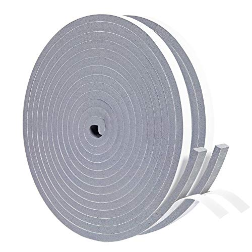 Yotache Gray Foam Weather Stripping Tape 2 Rolls 3/8 Inch Wide X 1/4 Inch Thick, Seal Draft Insulation Soundproofing for Windows, Sliding Door, Total 26 Feet Long (2 X 13 Ft Each)