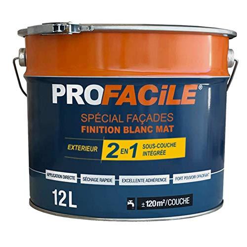 Peinture 2en1 façade direct sans sous couche, mat, extérieur, imperméabilisante, respirante, 12L Blanc