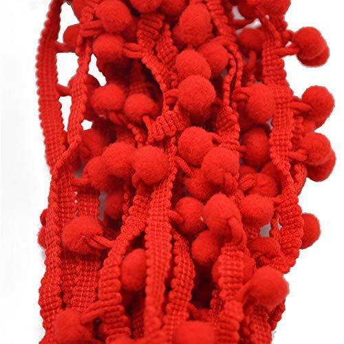 Hermosamente 2 PCS 5 Yardas Bola de Ajuste 10 mm Mini Perla Pomponia Franja Cinta de Costura Lace Kintted Tela Hecho A Mano DIY Craft Accesorios para decoración de Costura Artesanal, (Color : Red)