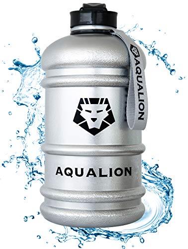 Aqualion Trinkflasche 2L Gym Bottle - Sport Flasche - BPA Frei - 100% Auslaufsicher - Extra Stark - Outdoor - Büro - Fitness - Schwimmen -