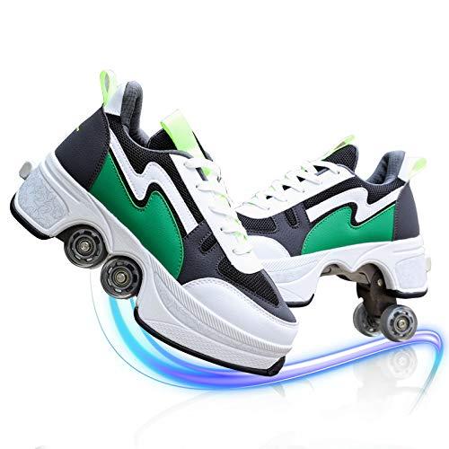 DUDUCHUN Patines De Ruedas para Hombre Y Mujer Ajustables De Doble Fila Ruedas De Deformación Zapatos De Polea para Principiantes Zapatos para Caminar Automáticos