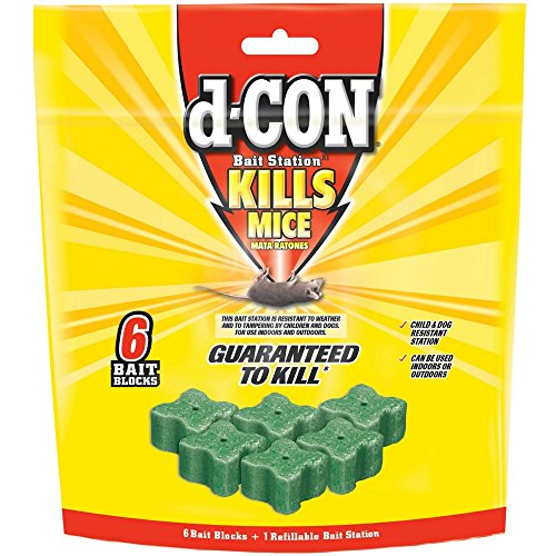 d-CON Rodenticide Rodent and Mouse Bait Station Corner Fit, 1 Bait Station + 6 Refills