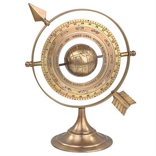 8' Antique Brass Armillary Sphere with Sundial Arrow | Nautical Maritime Astrolabe Engraved Astrological Star Signs Globe | Home Decor Center Piece Ideas | Vintage Collectible Gifts