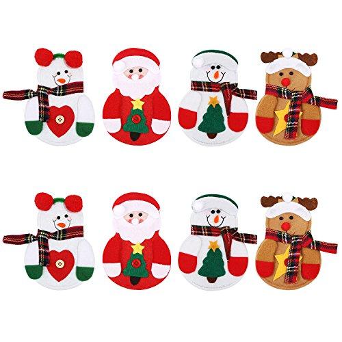 8 Pezzi Natale Portaposate Portacoltelli Forchette Sacchetto Decorativi Sacchetti per Articoli per Tavola per Decorazione di Natale Halloween, 4 Stili