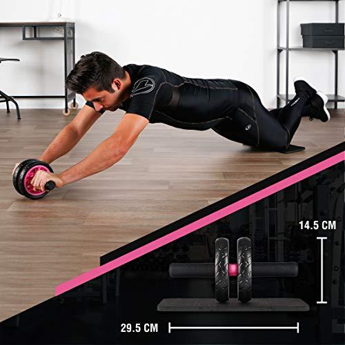 Ultrasport Trainer AB Wheel, Roller e Ruota per Addominali, Ottimo come Attrezzo per il Fitness, Supporto una Dieta Dimagrante, Doppie Rotelle e Base di Appoggio per le Ginocchia, Rosa, Taglia Unica