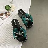 WEIXINMWP Sandalias de Nudos y Zapatillas para Mujeres Usan Todos los Intereses de Moda y de Moda en Verano,Verde,39