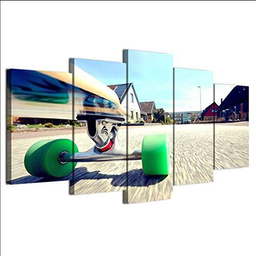 Zybnb Hot Koop Nieuwe Moderne Skateboard Jeugd Hd Canvas Art Prints Muurdecoratie Foto's 5 Stuk Schilderij voor Woonkamer Decor