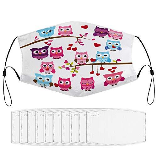 Girl Baby Shower Themed Owls And Branches Cartoon Animal CharactersGesichtsdekoration mit Filterkern, wiederverwendbare, staubdichte Gesichtsdekoration (mehrere Filterkerne), für Erwachsene neutral