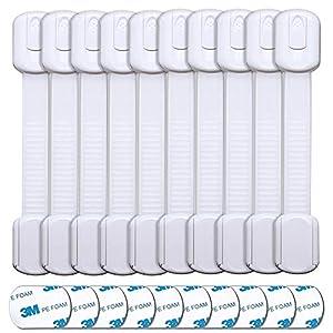 Cerraduras de Seguridad Niños,10 Pcs Bloqueo de Seguridad Bebés Adhesivo 3M Correa ajustable Cierres fáciles de instalarpara Puertas y Ventanas Gabinete de cocina Cajón Refrigerador Armario