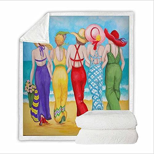 Coperta In Pile Bellezze Da Spiaggia 3D Con Stampa per Bambini Adolescenti Adulti Morbida Coperta per Letto Vacanza Divano,Regalo Di Compleanno Ideale 76X100Cm