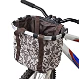 GLE2016 Bike Basket, Foldable Small Pet Cat Dog Carrier Front Removable Bicycle Handlebar Basket Quick Release Easy Install Detachable Cycling Bag Mountain Picnic Shopping