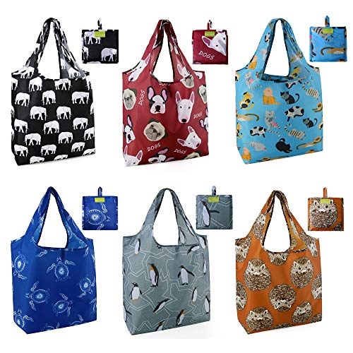 Grocery Bags Reusable Foldable 6 Pack Shopping Bags Large 50LBS Cute Groceries Bags with Pouch Bulk...