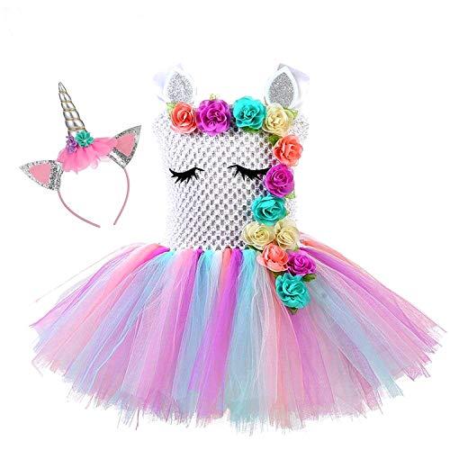 Vestido tutú de princesa de unicornio, arco iris, para fiesta de cumpleaños, disfraz de...