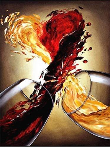 Pintura de diamante DIY Copa de vino tinto Taladro completo Rhinestone Crystal Bordado Fotos de punto de cruz Arte Artesanía para la decoración