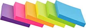 Sticky Notes 3x3 inch Bright Colors Self-Stick Pads 6 Pads/Pack 100 Sheets/Pad