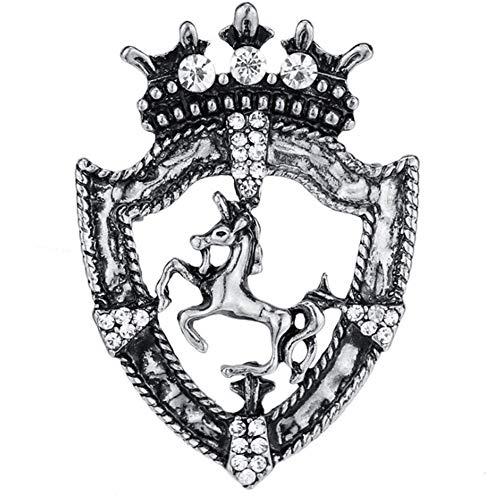 chunnron Pin Brosche Einhorn-Brosche Silberbrosche Goldbrosche Legierung Brosche Tierbrosche Pferdebrosche Vintage Brosche Mantel-Brosche Kristall Brosche Silver