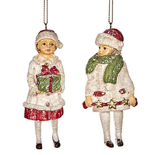 Good-will Navidad Victoriana Niños con Regalos Decoración Adorno de Resina 12 centímetros Rojo Blanco Juego de 2 Surtidos