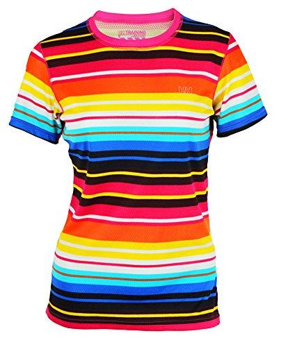 Helly-Hansen Women's Speed LIFA Flow Short Sleeve Shirt (Medium, Magenta Stripe)
