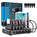 Multi-Device Charging Station USB Charger USB Power Board 7-in-1 Multi-Function Charger Accessory Manager Bracket Equipped with 6 Cables for Mobile Phone Tablet Watch Headset Charging Storage Rack