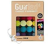 Arlequin - Guirnalda luminosa con bolas de algodón LED USB, 2 horas, adaptador de red doble USB 2A incluido, 3 intensidades, 24 bolas de 4 m