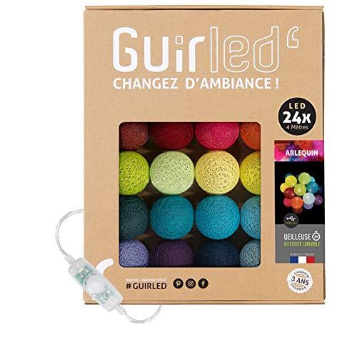 Ghirlanda luminosa con palline di cotone a LED USB, caricabatterie doppio USB 2A incluso, 3 intensità diverse