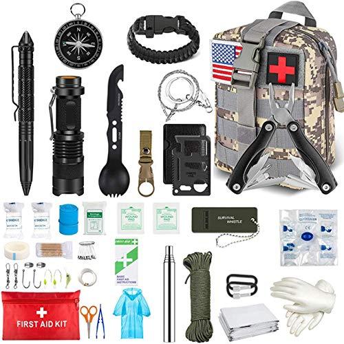 starte Kit de Supervivencia de Emergencia, Equipo de Supervivencia Profesional, Kit de Primeros Auxilios, Linterna táctica de Emergencia SOS, brújula con Bolsa de Camuflaje para Aventuras de Acampada