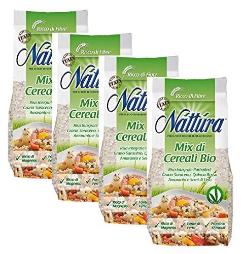 Nattura Mélange de Riz étuvé Intégral, de Sarrasin, de Quinoa Rouge, d'Amarante et de Lin Source de Fer et de Magnésium - (4 x 400 Gram)