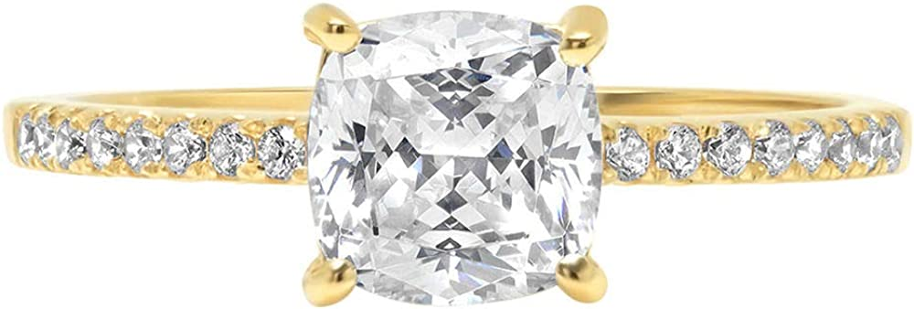 1.66ct Brilliant Cushion Cut Solitaire Accent Genuine Flawless White Lab Created Sapphire Gemstone Engagement Promise Anniversary Bridal Wedding Ring Solid 18K Yellow Gold