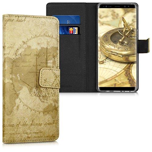 kwmobile Wallet Hülle kompatibel mit Samsung Galaxy Note 8 DUOS - Hülle Kunstleder mit Kartenfächern Stand Travel Vintage Braun Hellbraun