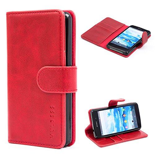 Mulbess Handyhülle für Sony Xperia Z1 Compact Hülle Leder, Sony Xperia Z1 Compact Handy Hüllen, Vintage Flip Handytasche Schutzhülle für Sony Xperia Z1 Compact Hülle, Wein Rot