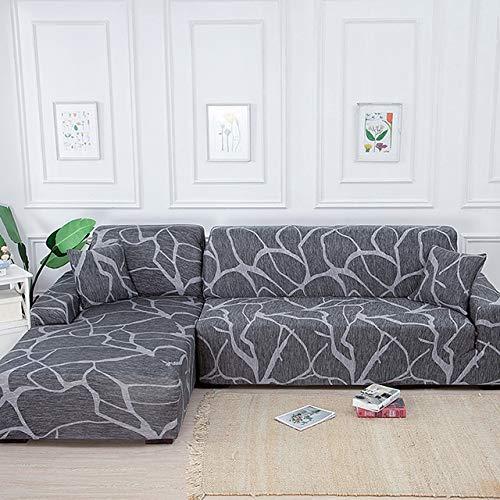 Sofabezug L Form 1/2/3/4 Sitzer Couchbezug L Form/Sofaüberzug/Sofahusse/Sofabezug Ecksofa/Sofaüberwürfe/Couchbezug/Sesselbezug/Sofa Überwürfe/Stretch Hussen (Color : A, Size : 2-Seater(145-185cm))
